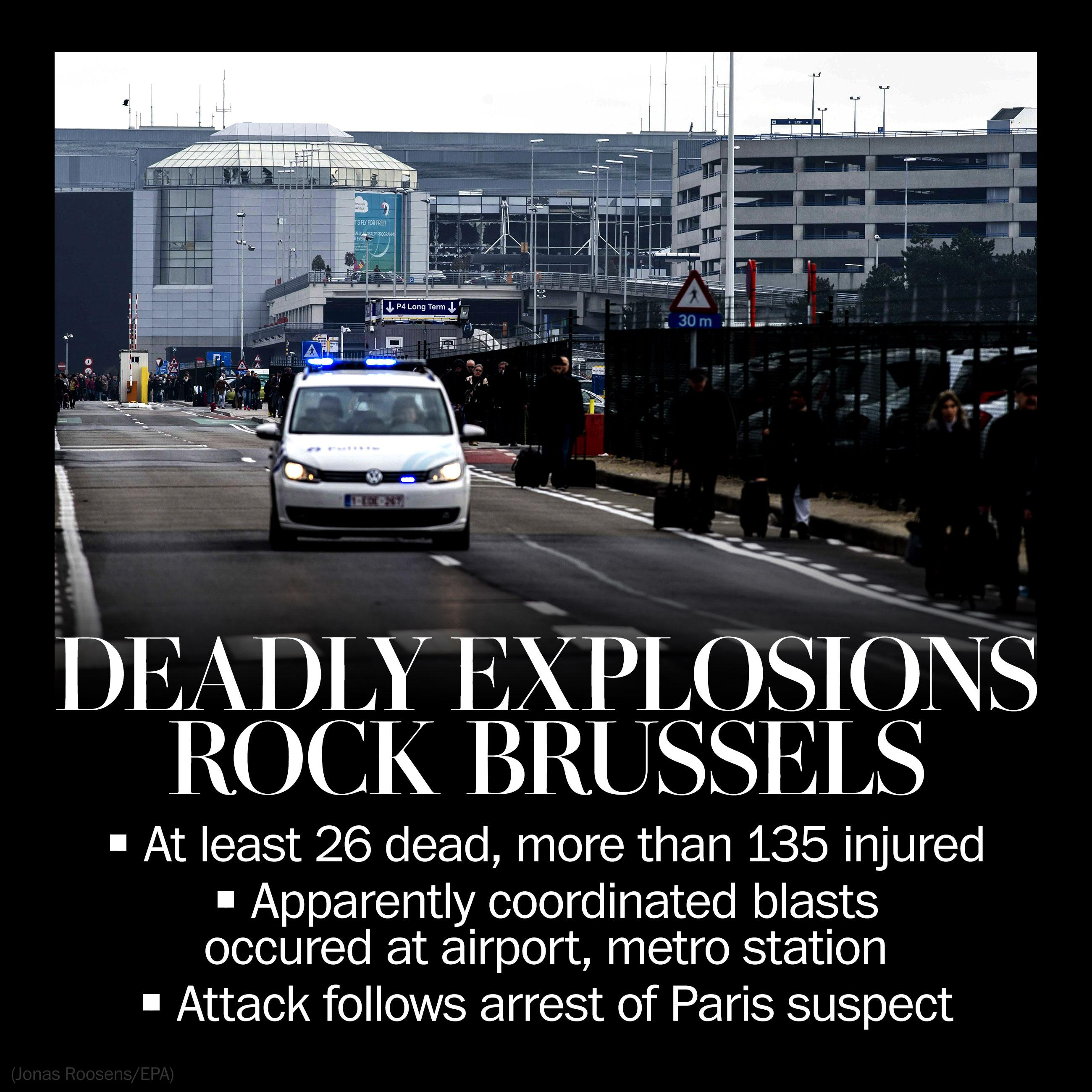 Two explosions detonated at Brussels airport