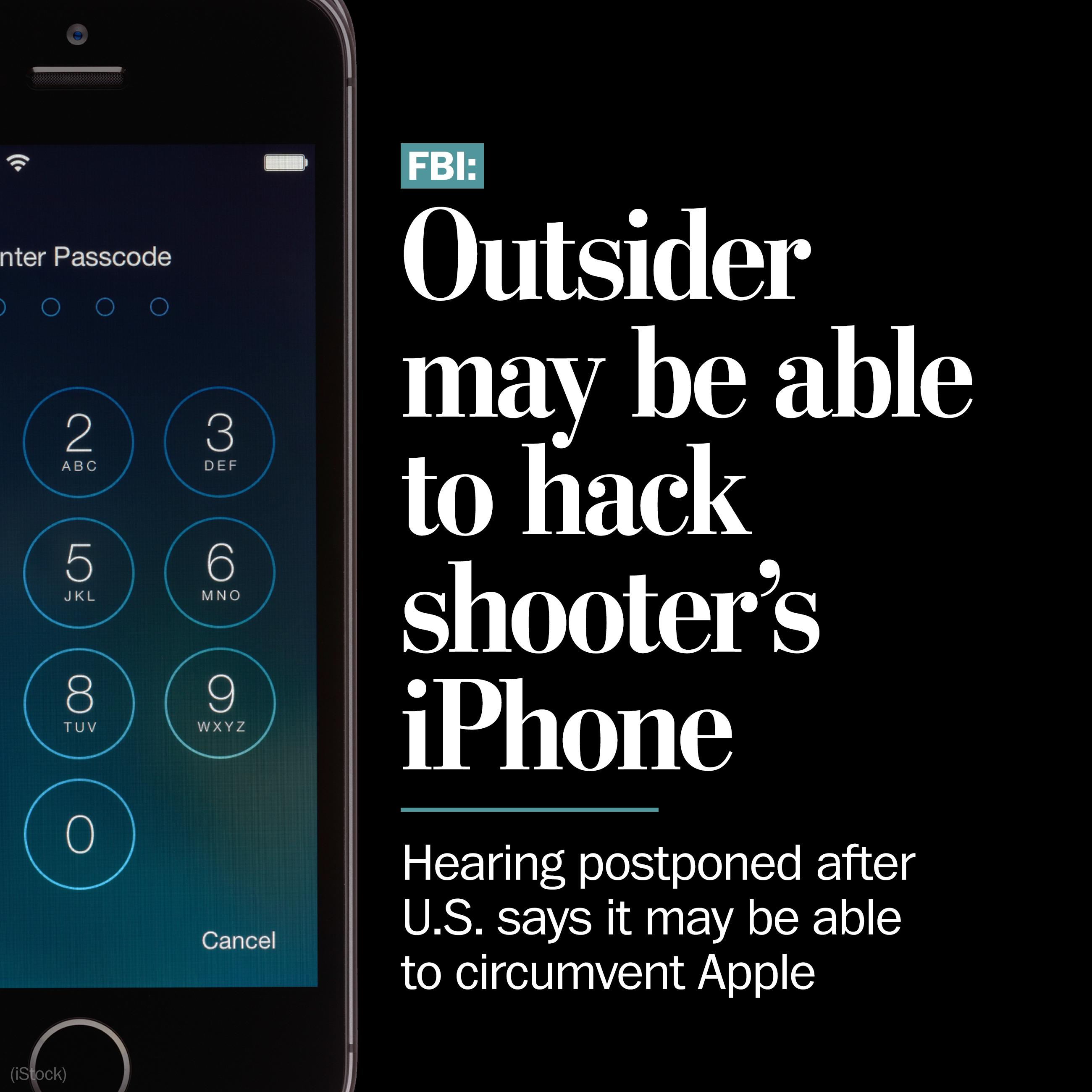 Hearing in San Bernardino over locked iPhone has been canceled