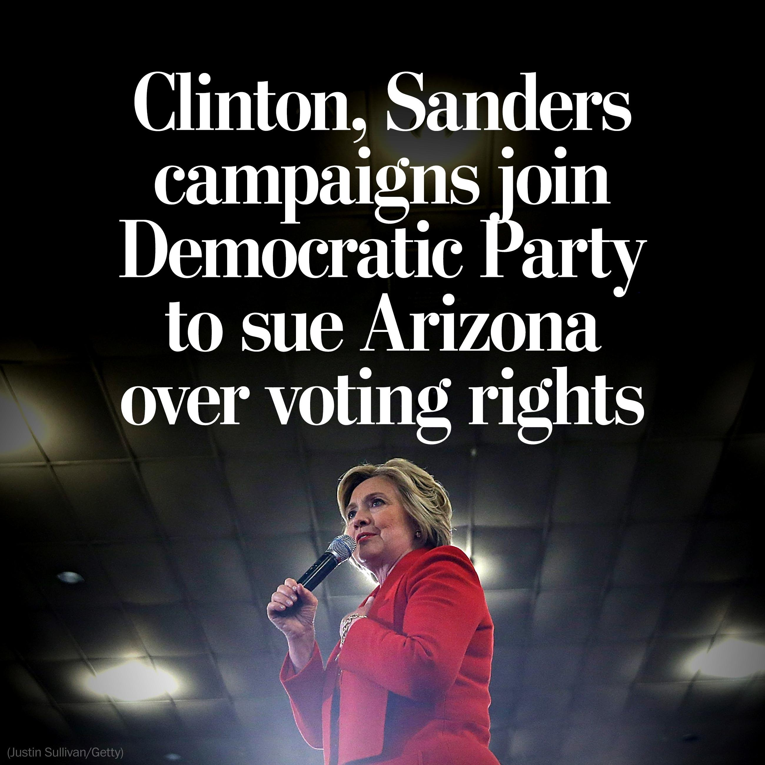 Democratic Party and Clinton campaign to sue Arizona over voting rights