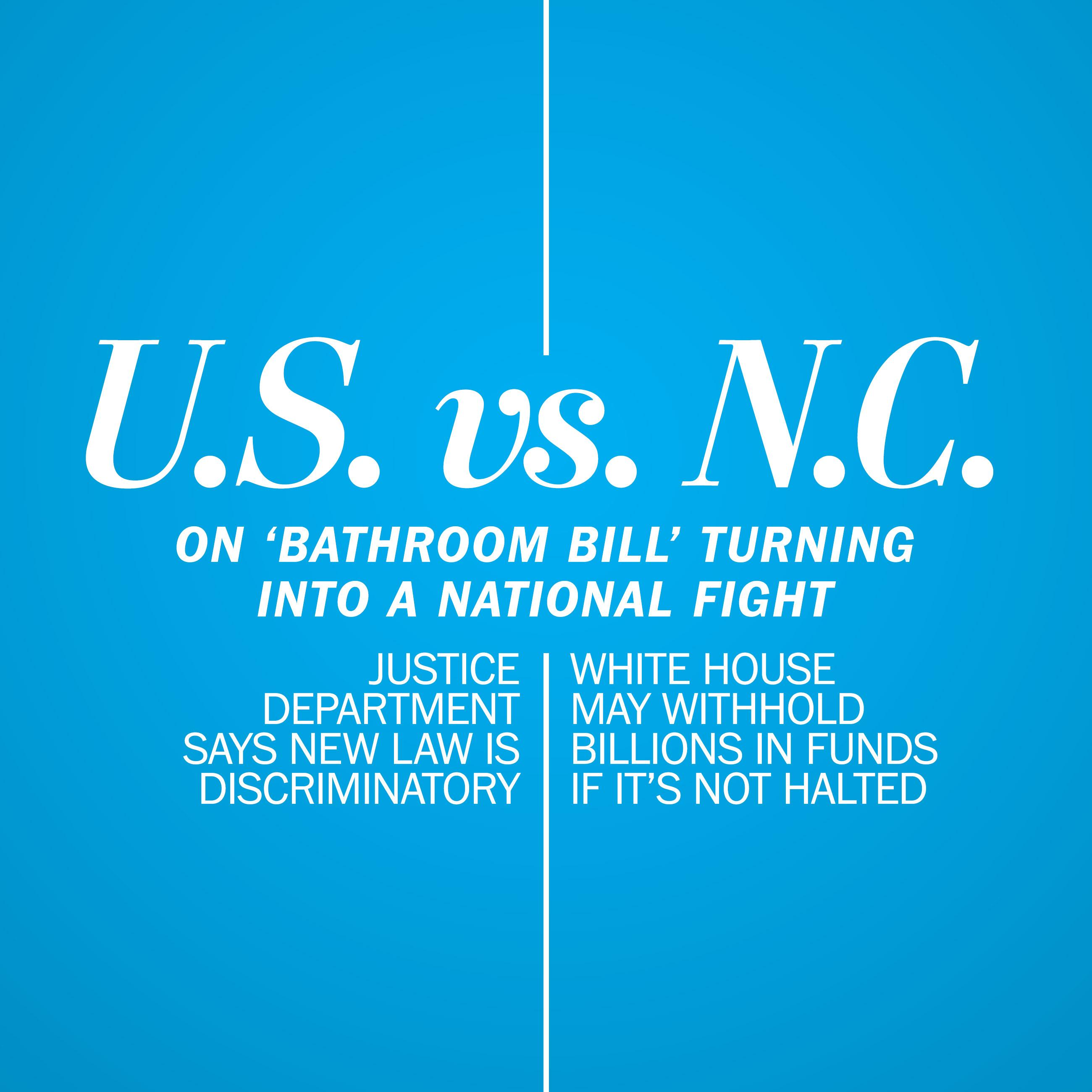 U.S. Justice Dept. clash with N.C. on 'bathroom bill' is becoming a national fight