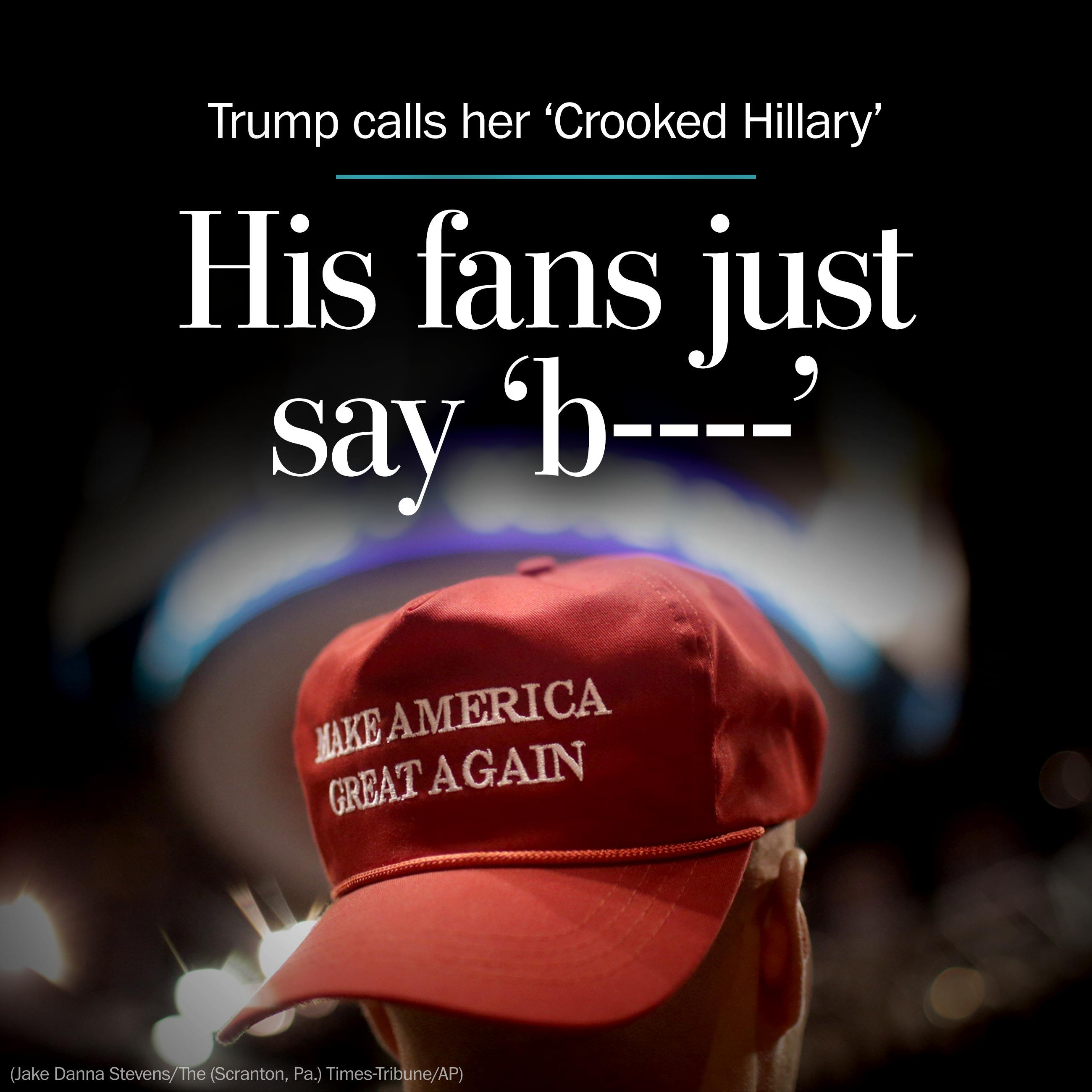 Donald Trump calls her 'Crooked Hillary,' but his fans just say 'b----'