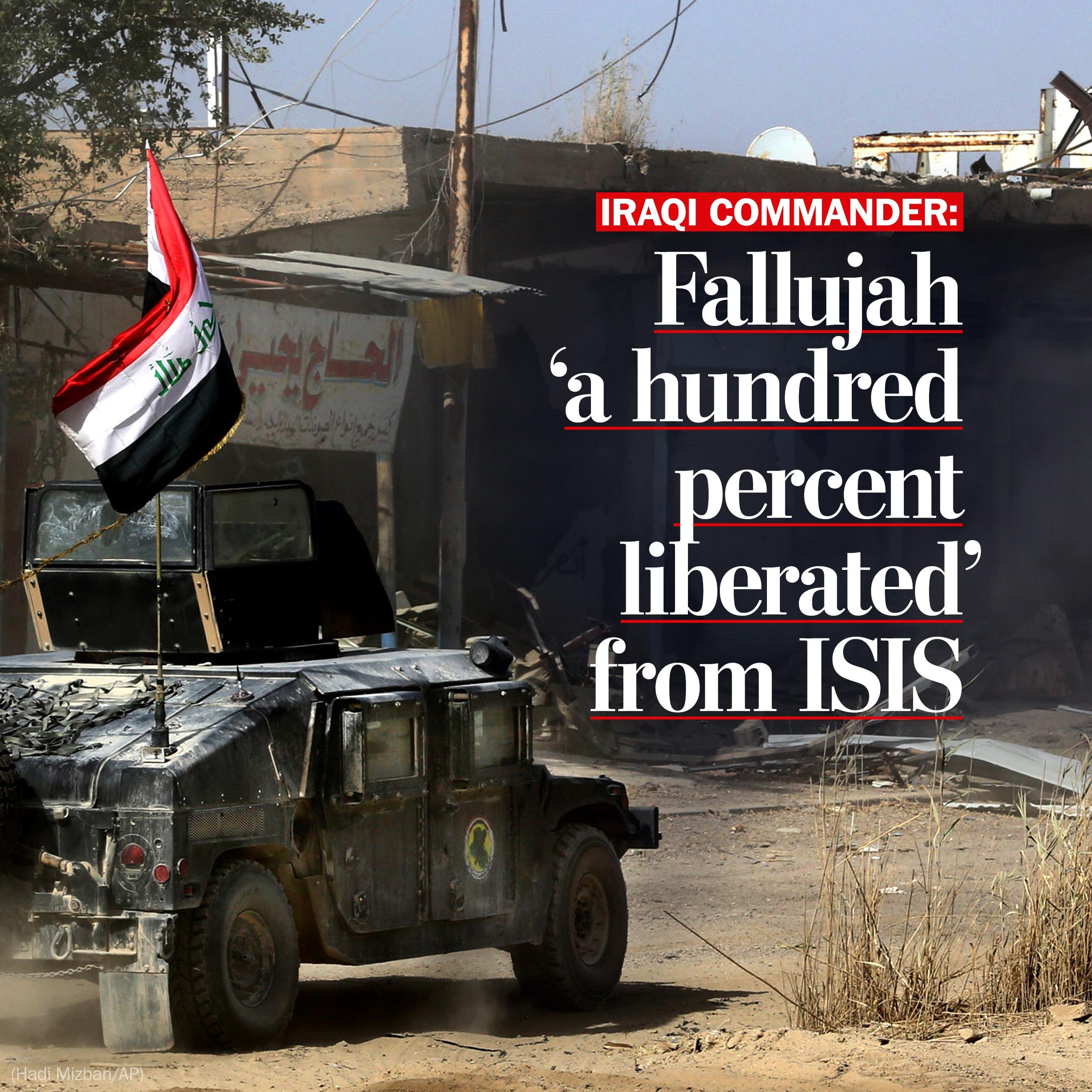 Iraqi forces expel Islamic State from Fallujah