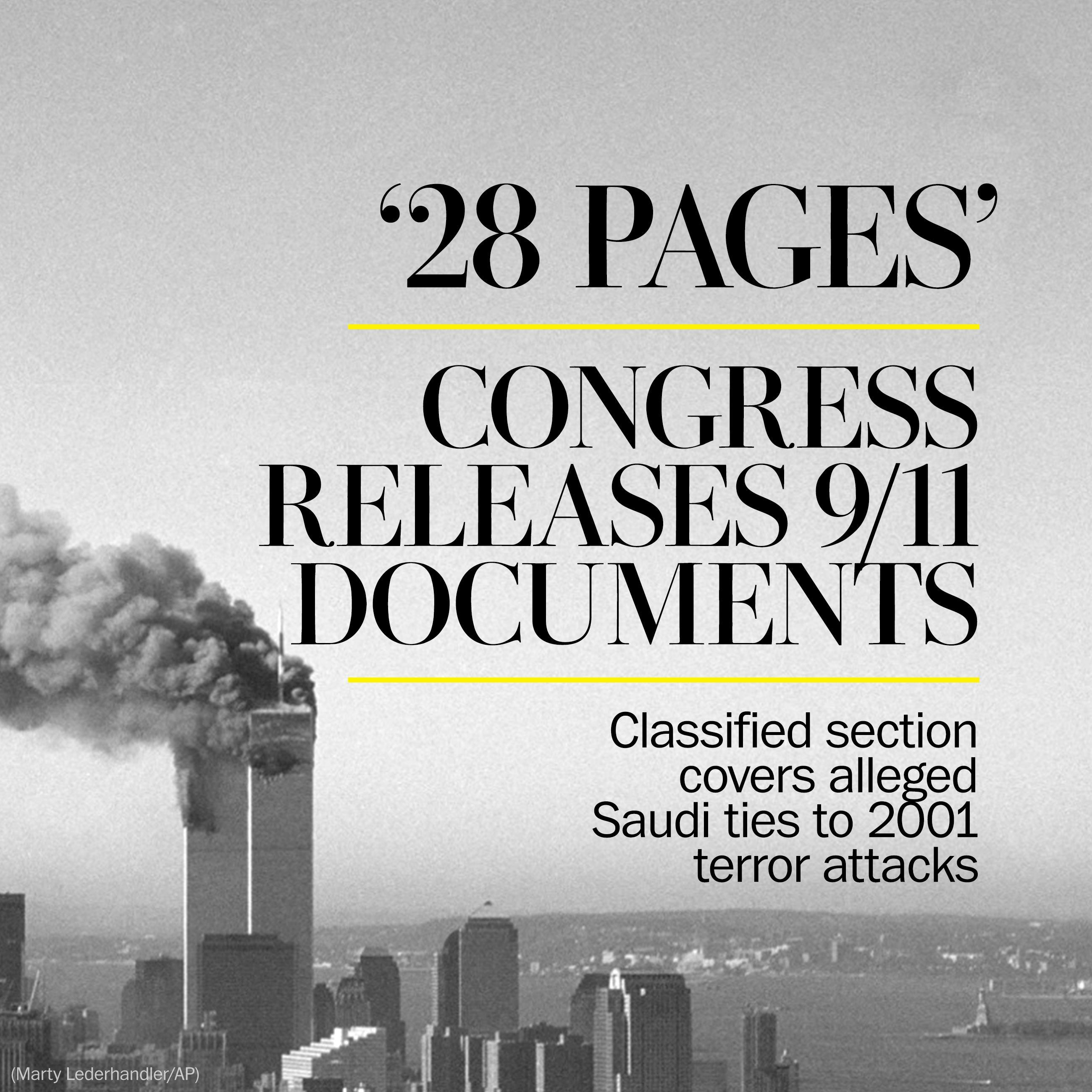 Congress releases long-classified '28 pages' on alleged Saudi ties to 9/11