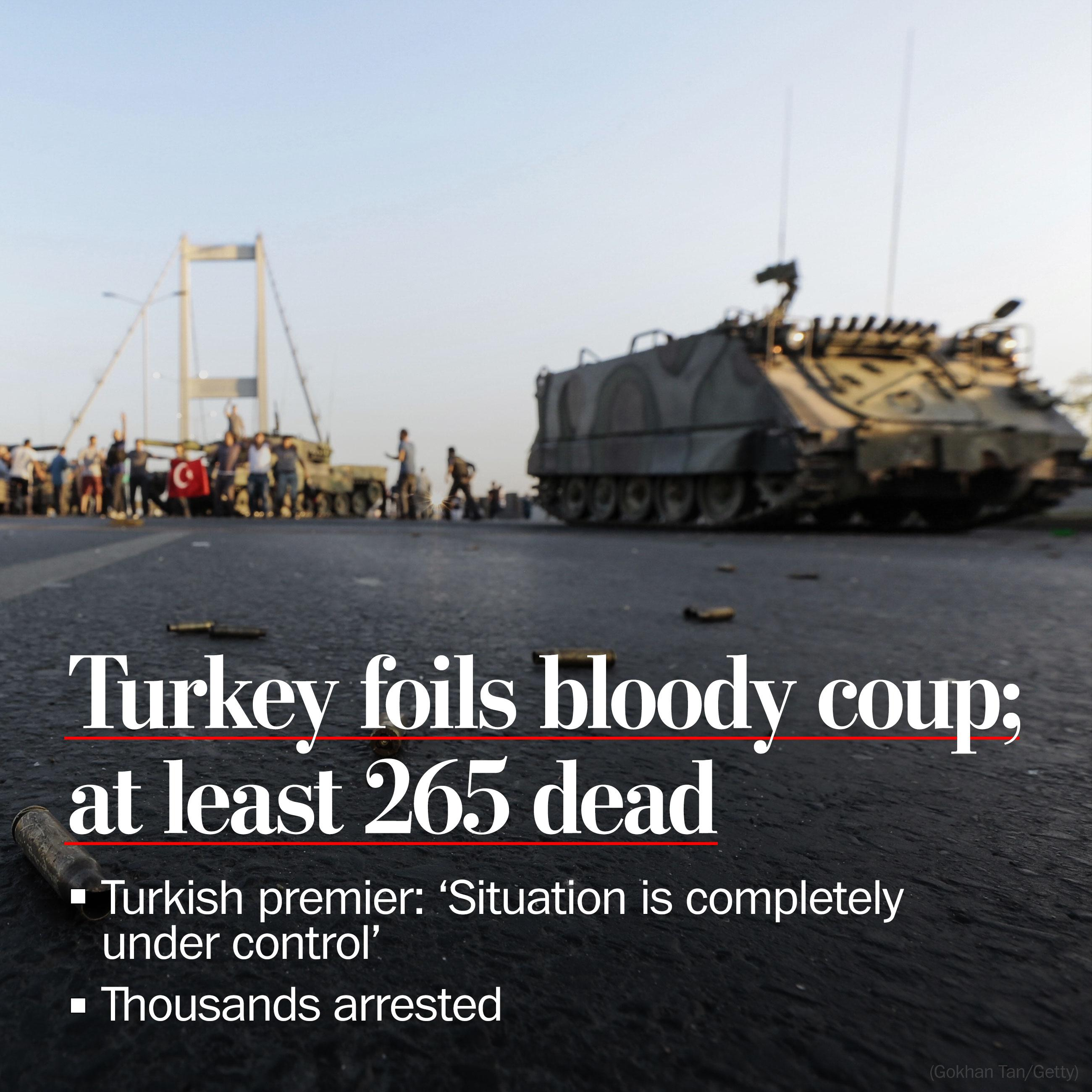 After bloody night, Turkey's president declares coup attempt foiled